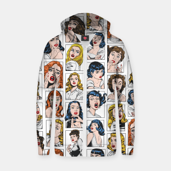 Miniatur Vintage Pulp Comic Pop Culture Pin Up Girl Art Pattern Color Zip up hoodie, Live Heroes