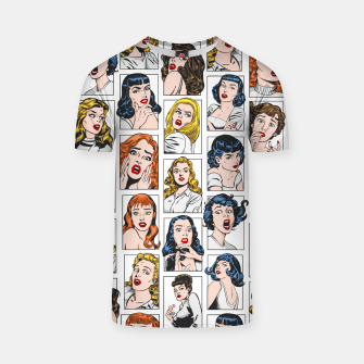 Miniatur Vintage Pulp Comic Pop Culture Pin Up Girl Art Pattern Color T-shirt, Live Heroes
