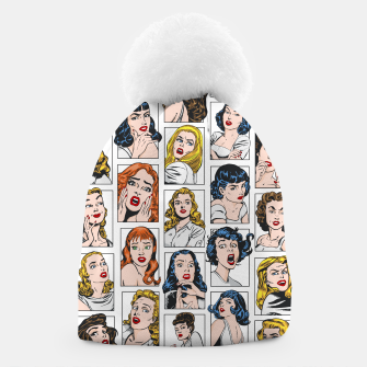 Miniatur Vintage Pulp Comic Pop Culture Pin Up Girl Art Pattern Color Beanie, Live Heroes