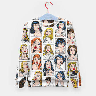 Miniatur Vintage Pulp Comic Pop Culture Pin Up Girl Art Pattern Color Kid's sweater, Live Heroes