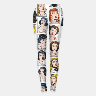 Miniatur Vintage Pulp Comic Pop Culture Pin Up Girl Art Pattern Color Leggings, Live Heroes