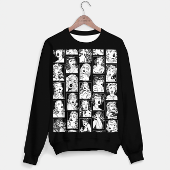 Miniatur Vintage Pulp Comic Pop Culture Pin Up Girl Art Pattern Dark Sweater regular, Live Heroes