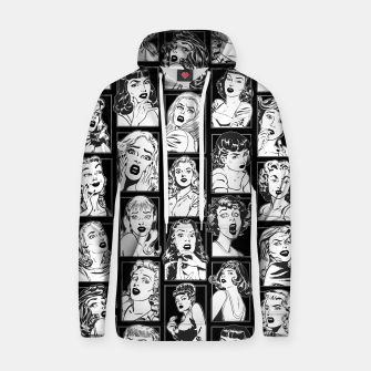 Miniatur Vintage Pulp Comic Pop Culture Pin Up Girl Art Pattern Dark Hoodie, Live Heroes