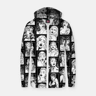 Miniatur Vintage Pulp Comic Pop Culture Pin Up Girl Art Pattern Dark Zip up hoodie, Live Heroes