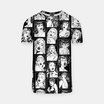 Miniatur Vintage Pulp Comic Pop Culture Pin Up Girl Art Pattern Dark T-shirt, Live Heroes