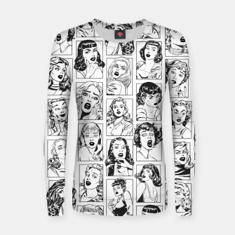 Thumbnail image of Vintage Pulp Comic Pop Culture Pin Up Girl Art Pattern Light Women sweater, Live Heroes