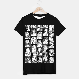 Thumbnail image of Vintage Pulp Comic Pop Culture Pin Up Girl Art Pattern Dark T-shirt regular, Live Heroes