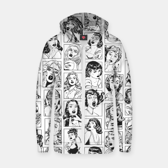 Thumbnail image of Vintage Pulp Comic Pop Culture Pin Up Girl Art Pattern Light Zip up hoodie, Live Heroes