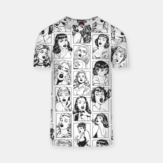 Thumbnail image of Vintage Pulp Comic Pop Culture Pin Up Girl Art Pattern Light T-shirt, Live Heroes