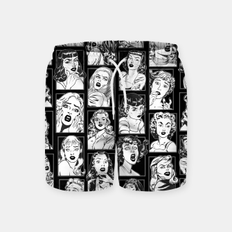 Thumbnail image of Vintage Pulp Comic Pop Culture Pin Up Girl Art Pattern Dark Swim Shorts, Live Heroes