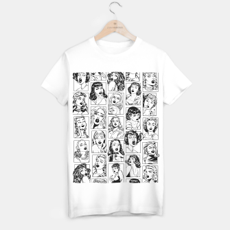 Thumbnail image of Vintage Pulp Comic Pop Culture Pin Up Girl Art Pattern Light T-shirt regular, Live Heroes