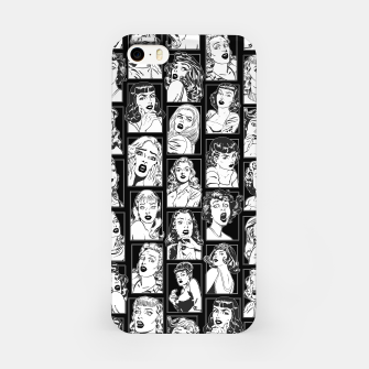 Thumbnail image of Vintage Pulp Comic Pop Culture Pin Up Girl Art Pattern Dark iPhone Case, Live Heroes