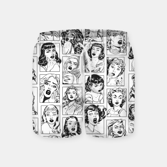 Thumbnail image of Vintage Pulp Comic Pop Culture Pin Up Girl Art Pattern Light Swim Shorts, Live Heroes