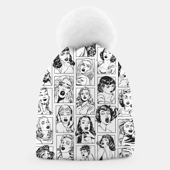 Thumbnail image of Vintage Pulp Comic Pop Culture Pin Up Girl Art Pattern Light Beanie, Live Heroes