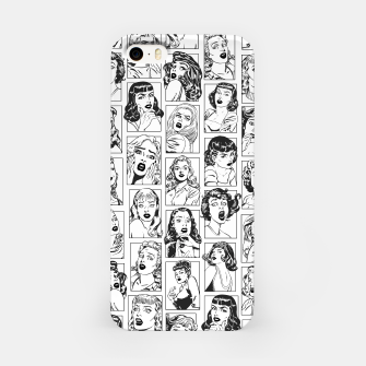 Thumbnail image of Vintage Pulp Comic Pop Culture Pin Up Girl Art Pattern Light iPhone Case, Live Heroes