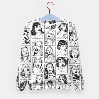 Thumbnail image of Vintage Pulp Comic Pop Culture Pin Up Girl Art Pattern Light Kid's sweater, Live Heroes