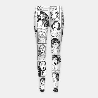 Thumbnail image of Vintage Pulp Comic Pop Culture Pin Up Girl Art Pattern Light Girl's leggings, Live Heroes