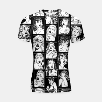 Thumbnail image of Vintage Pulp Comic Pop Culture Pin Up Girl Art Pattern Dark Shortsleeve rashguard, Live Heroes