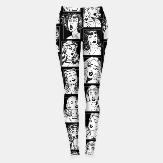 Thumbnail image of Vintage Pulp Comic Pop Culture Pin Up Girl Art Pattern Dark Leggings, Live Heroes