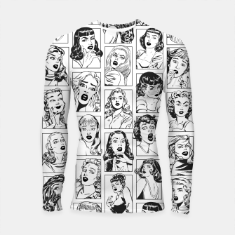 Thumbnail image of Vintage Pulp Comic Pop Culture Pin Up Girl Art Pattern Light Longsleeve rashguard , Live Heroes