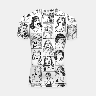 Thumbnail image of Vintage Pulp Comic Pop Culture Pin Up Girl Art Pattern Light Shortsleeve rashguard, Live Heroes