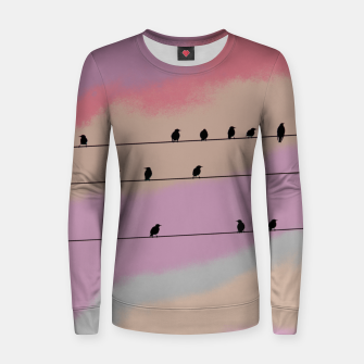 Miniatur Birds on wire and colorful background Women sweater, Live Heroes