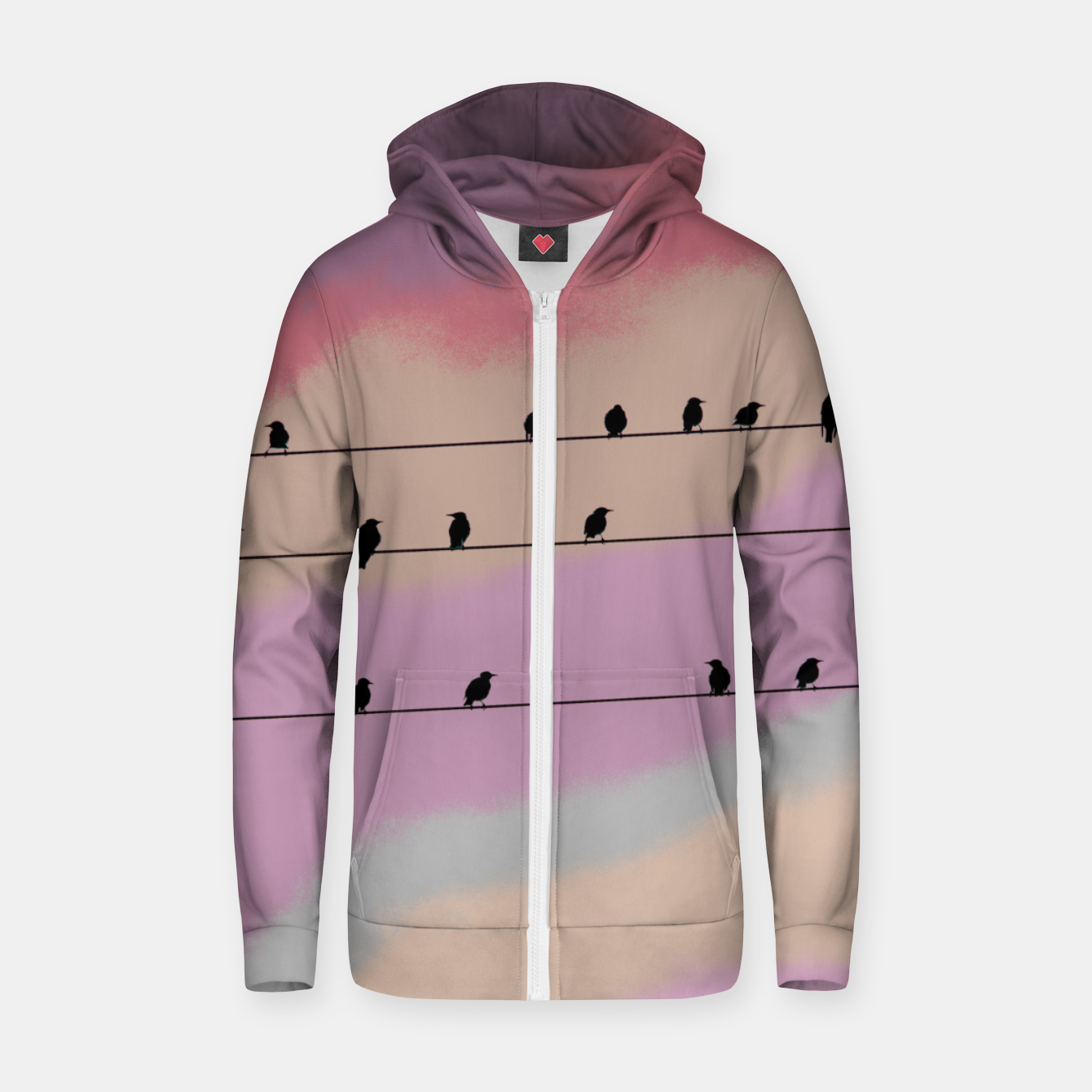 Image de Birds on wire and colorful background Zip up hoodie - Live Heroes