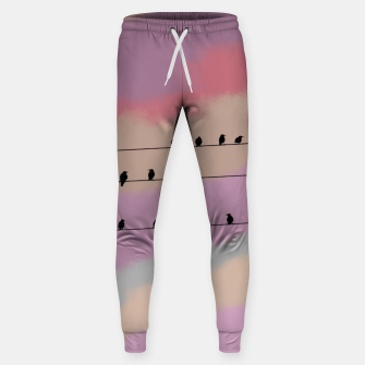 Miniatur Birds on wire and colorful background Sweatpants, Live Heroes