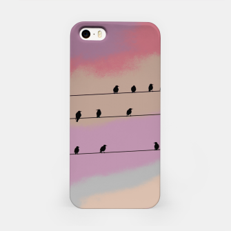 Miniatur Birds on wire and colorful background iPhone Case, Live Heroes