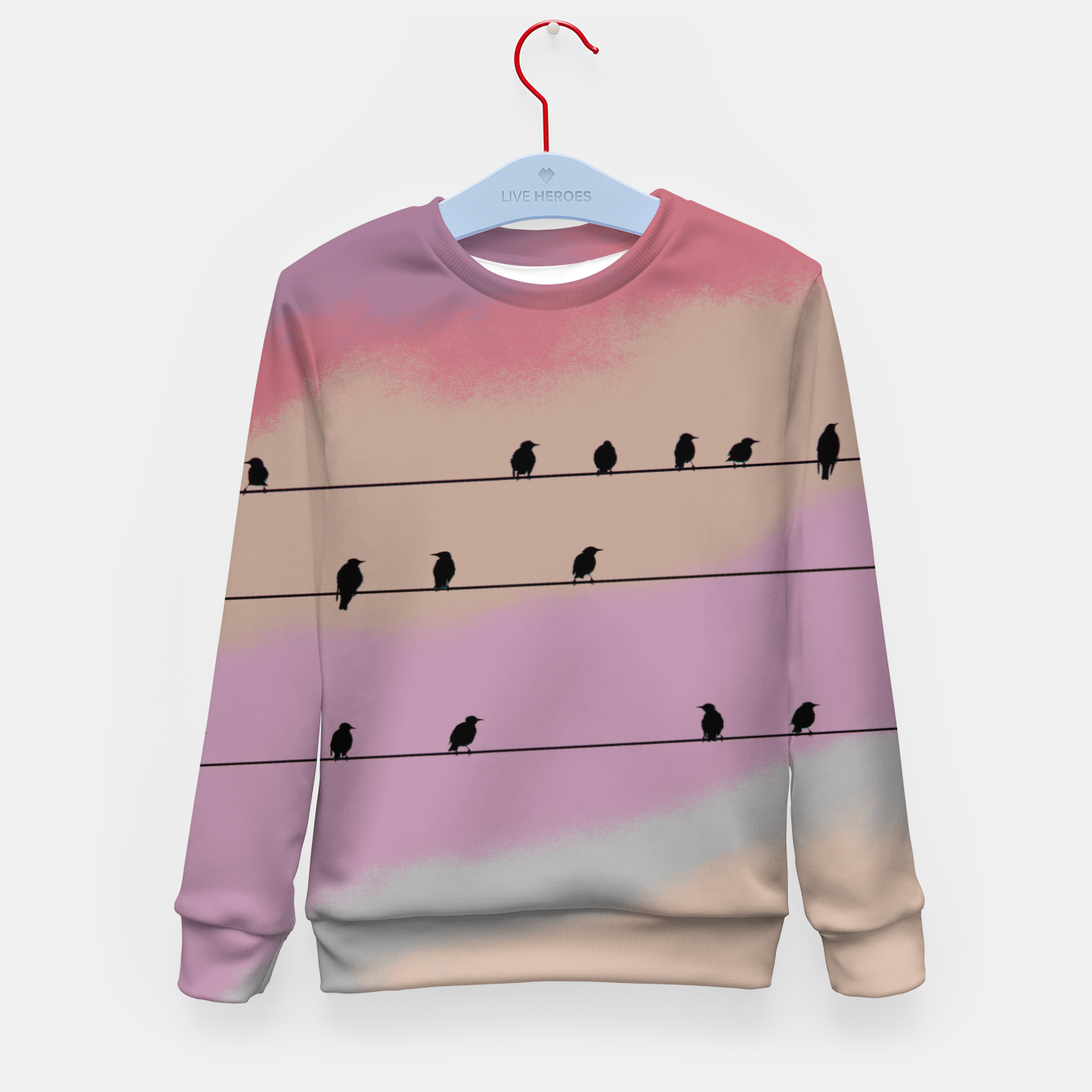 Image de Birds on wire and colorful background Kid's sweater - Live Heroes