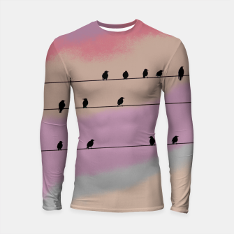 Miniatur Birds on wire and colorful background Longsleeve rashguard , Live Heroes