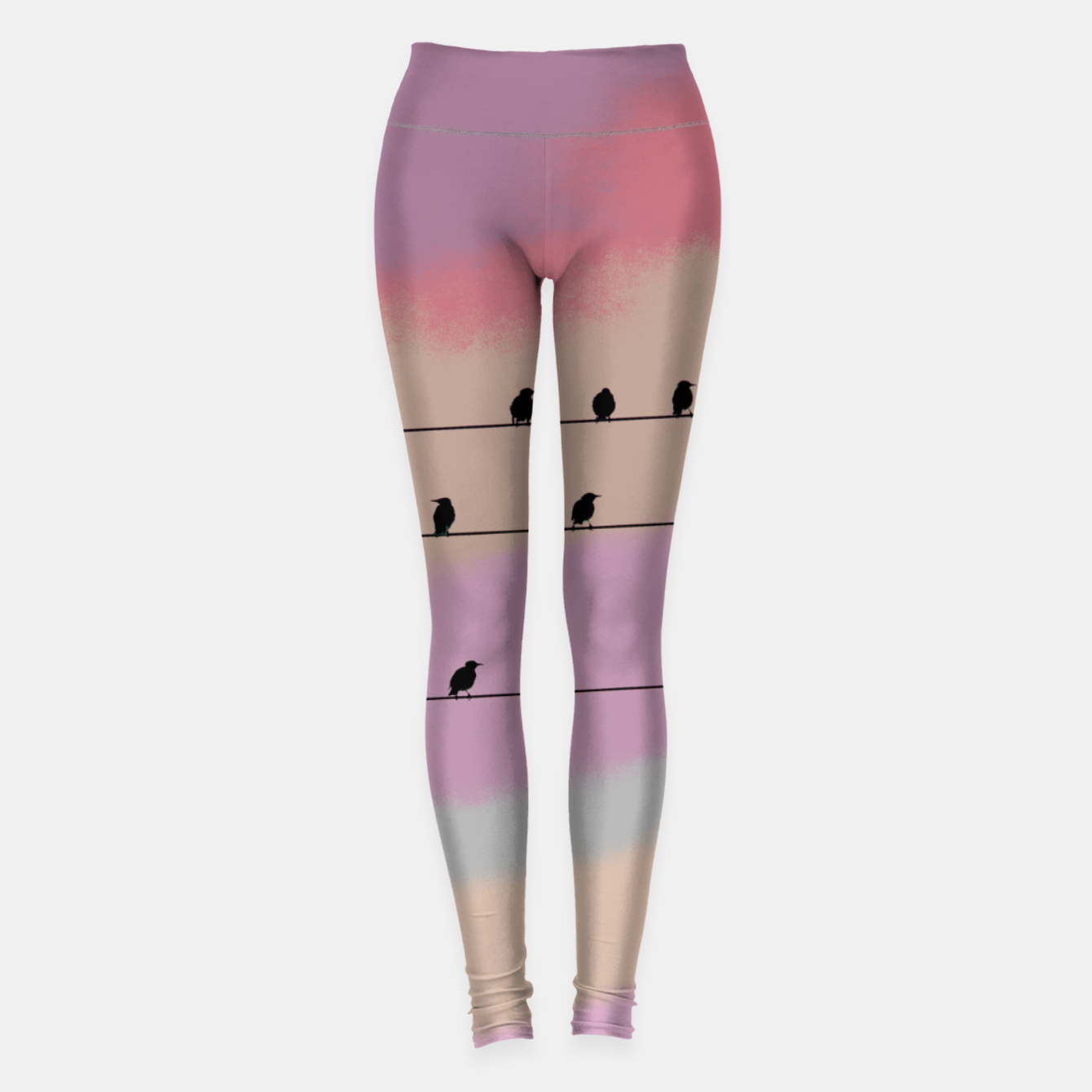 Image de Birds on wire and colorful background Leggings - Live Heroes