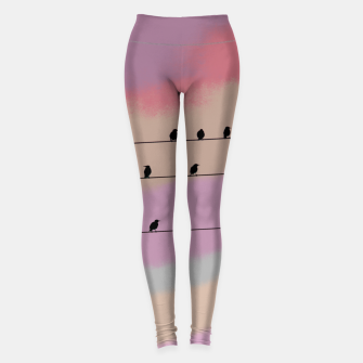 Miniatur Birds on wire and colorful background Leggings, Live Heroes
