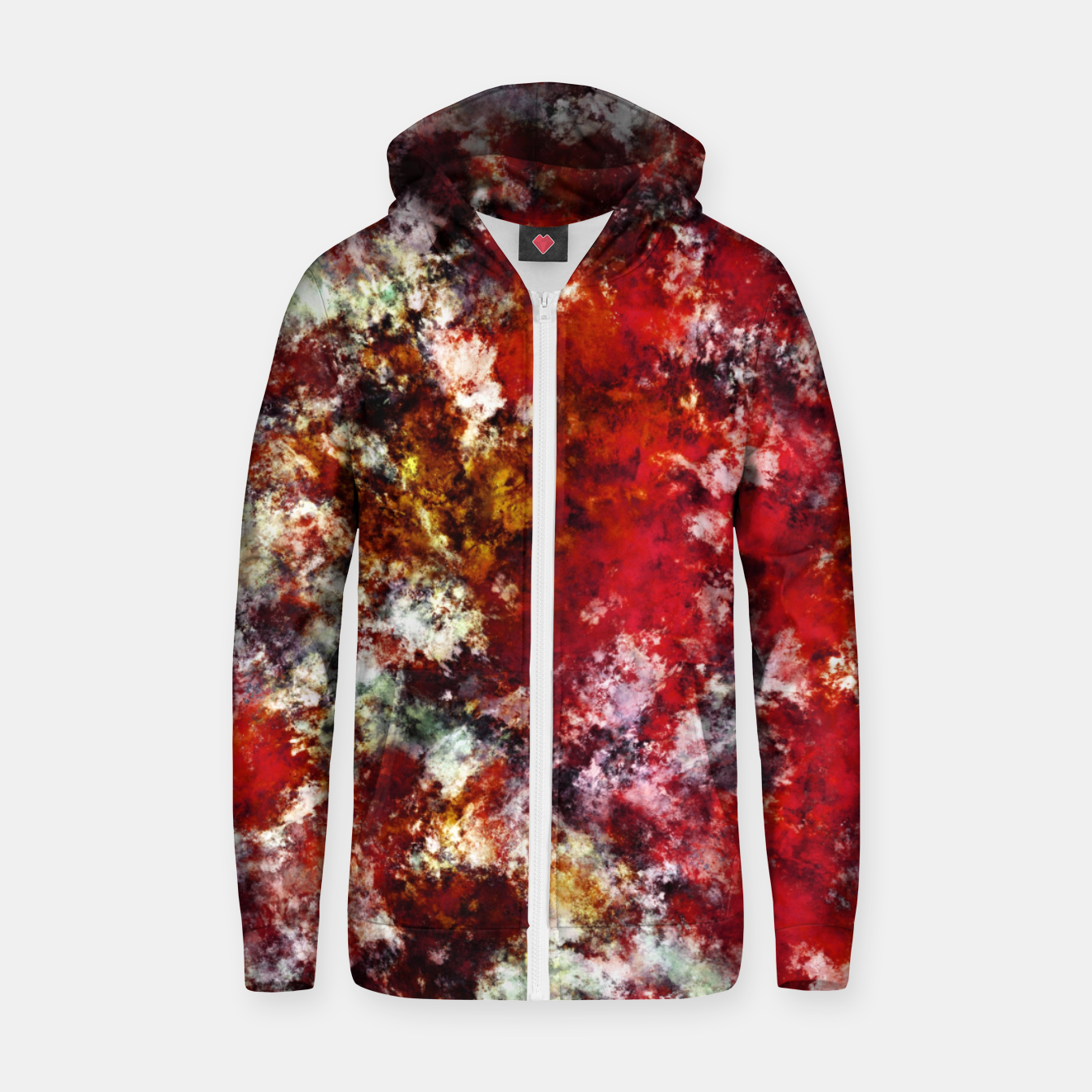 Image of The red crying rocky surface Zip up hoodie - Live Heroes