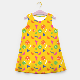 Miniatur Geometric Shapes Retro Colors Party Vibes Colorful Confetti Girl's summer dress, Live Heroes