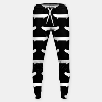 Thumbnail image of White Skateboard Monochromatic Black Skater Urban Sports Sweatpants, Live Heroes