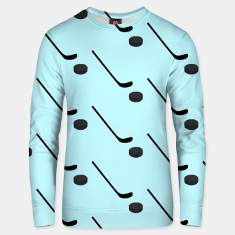 Thumbnail image of Ice Hockey Black Color Sticks Puck Light Blue Sport Player Unisex sweater, Live Heroes