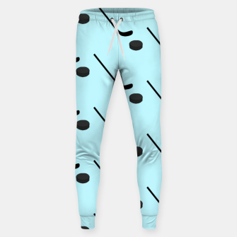 Thumbnail image of Ice Hockey Black Color Sticks Puck Light Blue Sport Player Sweatpants, Live Heroes