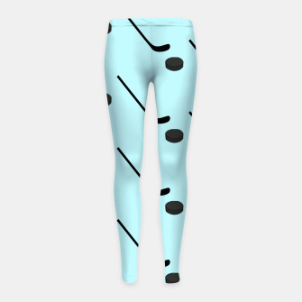 Thumbnail image of Ice Hockey Black Color Sticks Puck Light Blue Sport Player Girl's leggings, Live Heroes