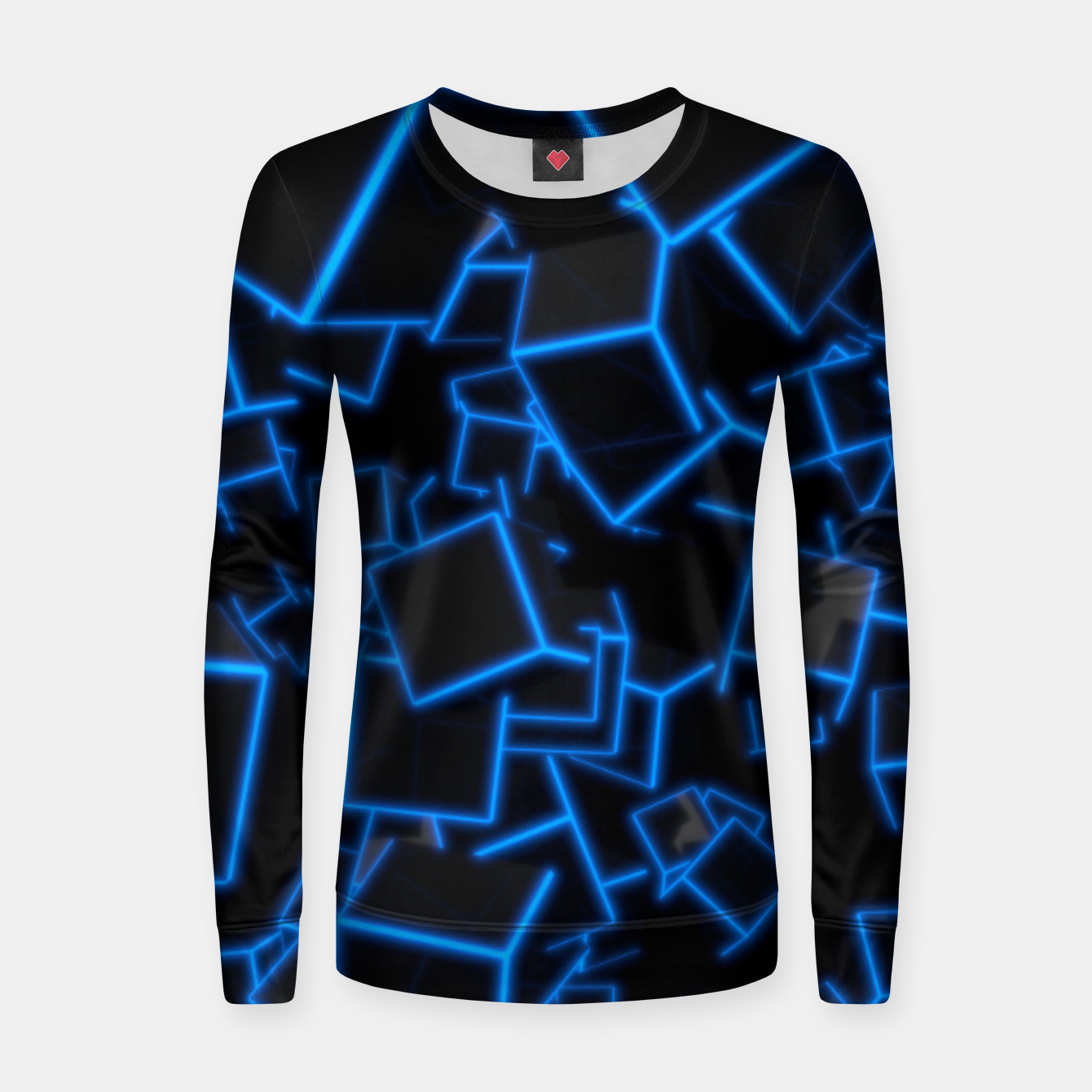 Image of Blue Neon Cubes Women sweater - Live Heroes