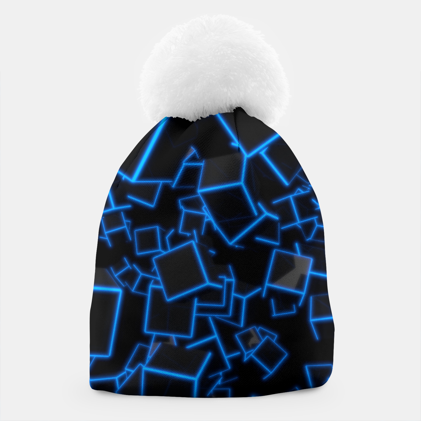 Image of Blue Neon Cubes Beanie - Live Heroes