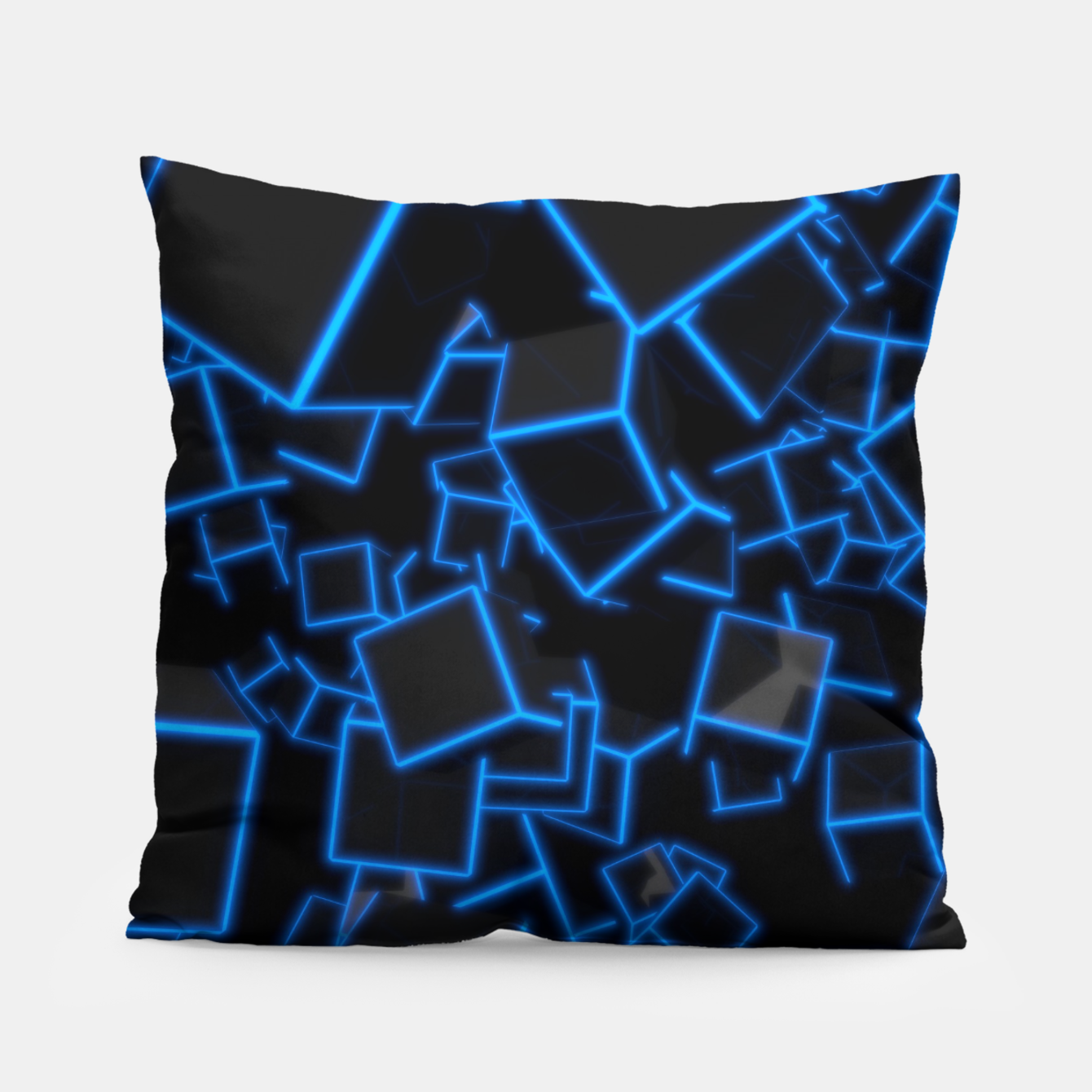 Image of Blue Neon Cubes Pillow - Live Heroes