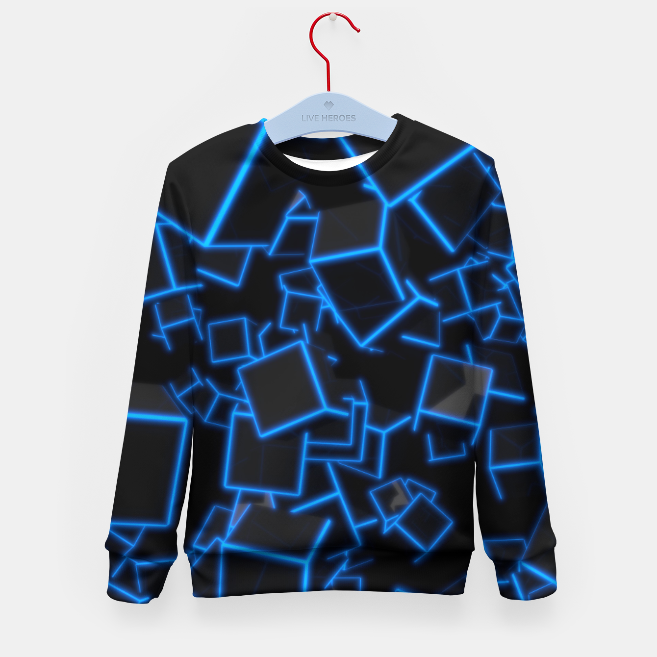Image of Blue Neon Cubes Kid's sweater - Live Heroes