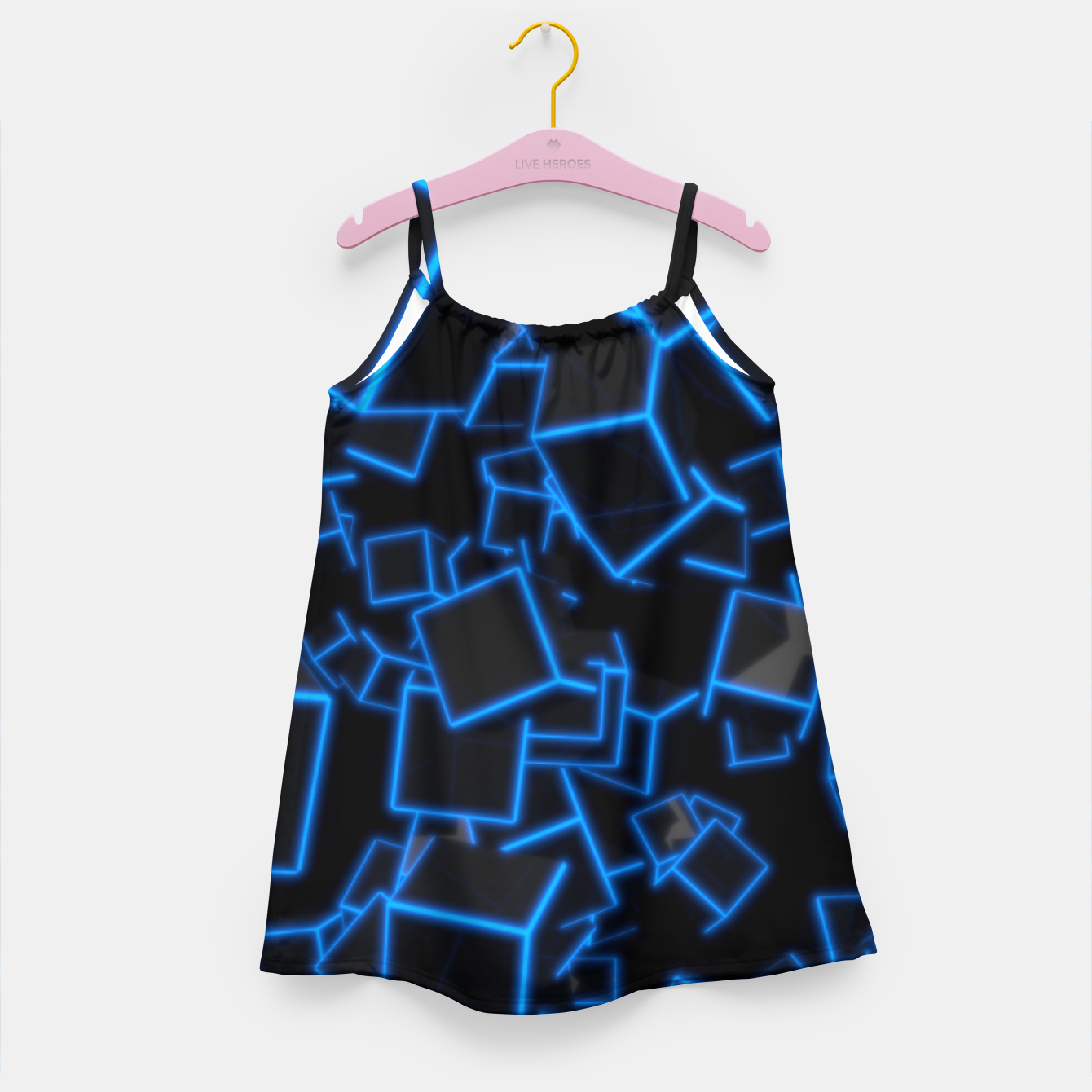 Image of Blue Neon Cubes Girl's dress - Live Heroes