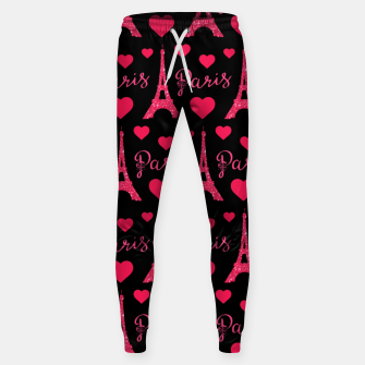 Thumbnail image of Paris France Eiffel Tower Lover Pink Hearts Glitter Sweatpants, Live Heroes