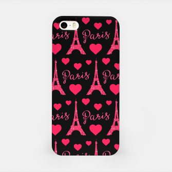 Thumbnail image of Paris France Eiffel Tower Lover Pink Hearts Glitter iPhone Case, Live Heroes