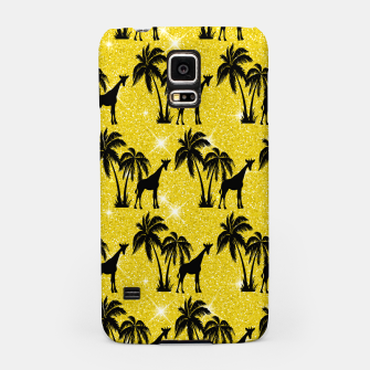 Thumbnail image of Giraffe Silhouette Tropical Palm Tree Leaves Zoo Animal Samsung Case, Live Heroes