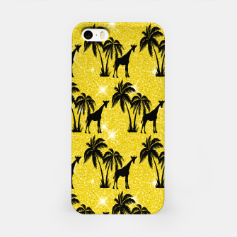Thumbnail image of Giraffe Silhouette Tropical Palm Tree Leaves Zoo Animal iPhone Case, Live Heroes