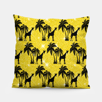 Thumbnail image of Giraffe Silhouette Tropical Palm Tree Leaves Zoo Animal Pillow, Live Heroes