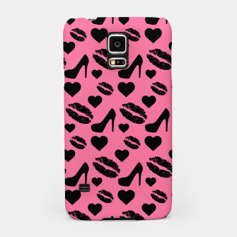 Thumbnail image of Black High Heels Kisses Lips Girly Makeup Hearts Love Samsung Case, Live Heroes